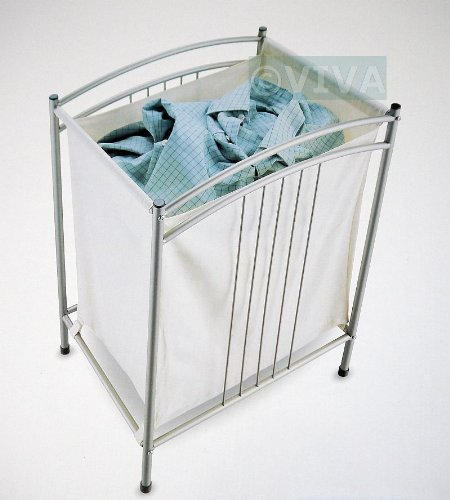 Canvas bag laundry basket bin mat silver powder coated clothes hamper storage