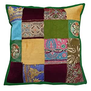 """1 Pcs Decorative Multicolor Cushion Cover Patchwork Couch Handmade Pillow Case Throw Home Décor 17"""" Inches"""