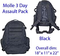 MOLLE 3 Day Military Assault Pack Backpack - Black
