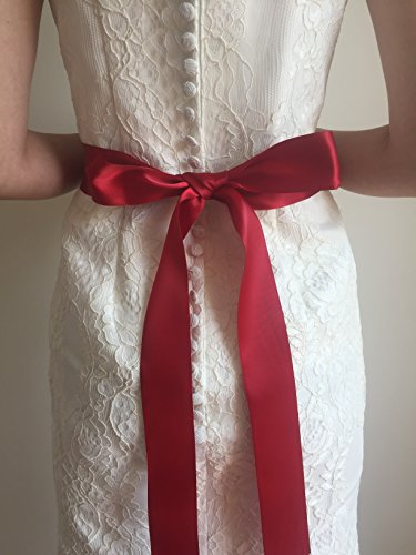 Wedding Party Prom Bridal Dress Sash Belt Red Apparel