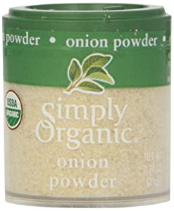 Simply Organic Onion, White Powder Certified Organic, 0.74-Ounce Containers (Pack of 6)