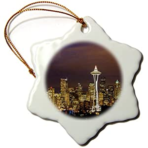 3dRose orn_88434_1 A Photo of The Seattle Skyline at Dusk Jim Goldstein Snowflake Decorative Hanging Ornament, Porcelain, 3-Inch