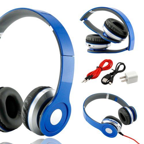 Gearonic Tm Wireless Adjustable Over-Ear Stereo Bluetooth Headphones With Volume And Track Controls For Iphone Ipod Mp3 Mp4 Pc Mobile - Blue