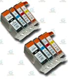 8 Chipped Compatible Canon PGI-5 & CLI-8 Ink Cartridges for Canon Pixma iP4200 Printer