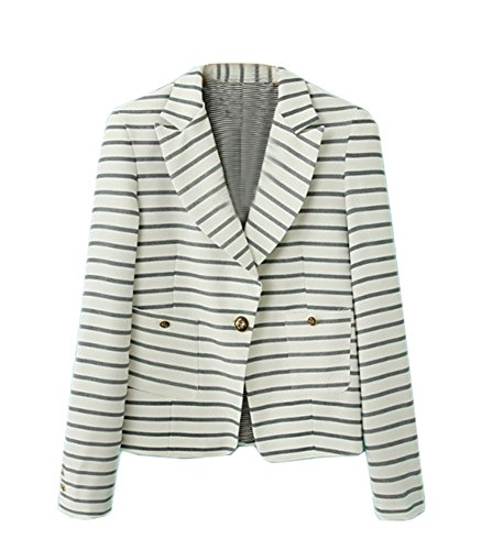 AngelClothing Women Fall Turn Down Collar Stripped Tops Blazer & Shorts Set Two