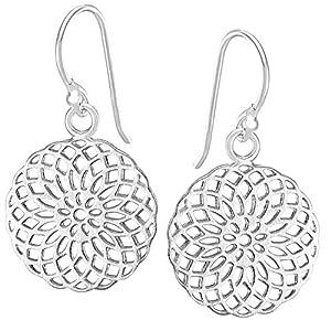 Vinani Boucles d'Oreilles Pendantes - Fleur de Vie - Mandala - mat lustré - Argent 925 - OJR