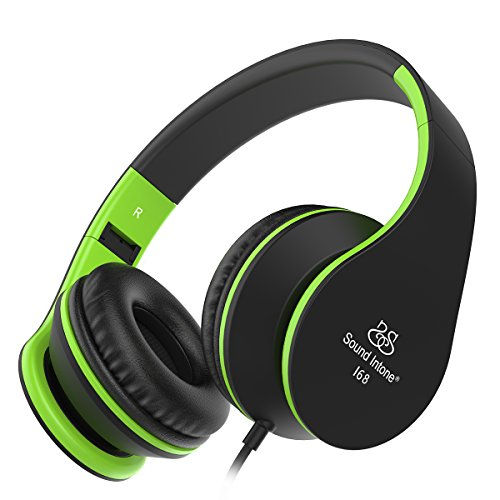Headphones, Sound Intone Foldable Headphones with Microphone and Volume Control, On-ear Wired Headset for iphone and Android Devices (Black/green) (Headphones Volume Control compare prices)