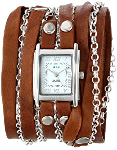 La Mer Collections Women's LMCLIFTON003 Tobacco Silver Square Case White Dial Ion-Plated Silver-Plated Jewelry Chains Watch