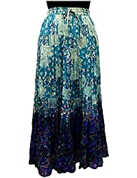 COTTON BREEZE Women's Cotton Regular Fit Skirt (Blue)