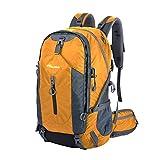 OutdoorMaster Hiking Backpack 50L with Waterproof Backpack Cover (Orange/Grey)