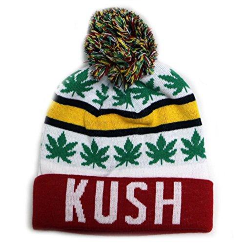 City-Hunter-Sk1160-Kush-Leaves-Pom-Pom-Beanie-Hats-7-Colors