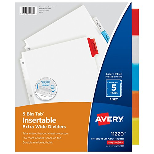 Avery Big Tab Insertable Extra-Wide Dividers, 5 Multicolor Tabs, 1 Set (11220) (Avery Extra Wide Tabs compare prices)