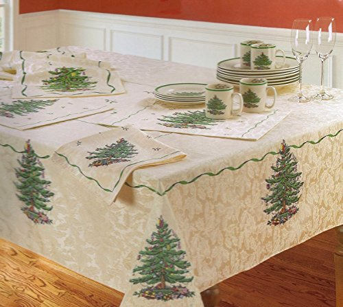 Spode Christmas Tree Fabric Tablecloth 70 Round Multi Color on Ivory Spode Christmas Tree Cloth