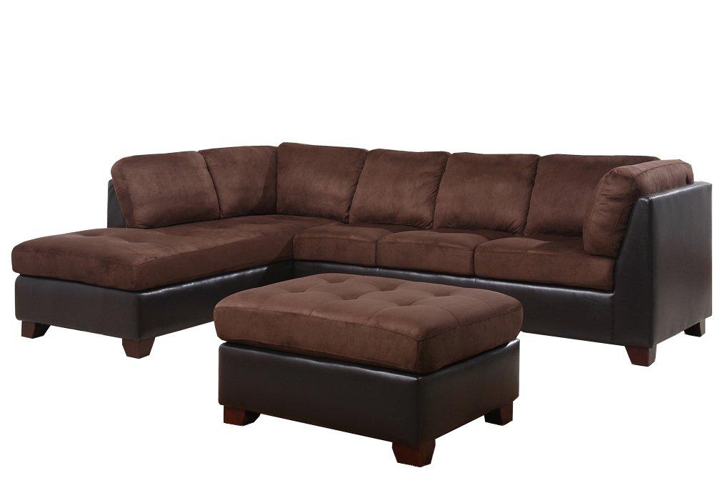 Abbyson Living Santa Maria Sectional Sofa/Ottoman - Dark Brown