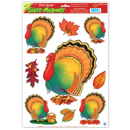 Thanksgiving Turkey Clings (4 leaves included) Party Accessory  (1 count) (5/Sh)