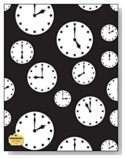 Clocks Notebook - Tick tock! Black and white clocks set at different times make a dramatic cover for this blank and wide ruled notebook with blank pages on the left and lined pages on the right.