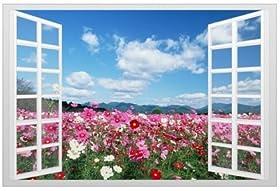 窓からの爽快な眺め お花畑 ウィンドウ ビュー ウォールステッカー 壁紙シール