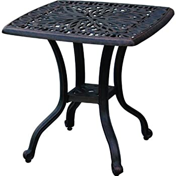 Darlee Elisabeth Cast Aluminum Outdoor Patio End Table - 21 Inch Square - Antique Bronze