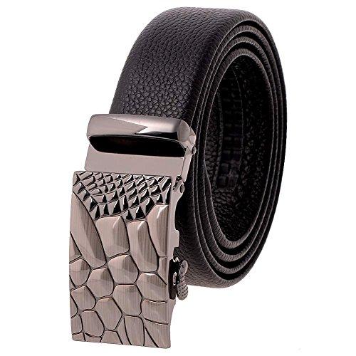 Vbiger Hot-sale Genuine Leather Mens Belt 35mm Strap (Black pebble)