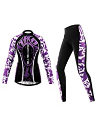 Riposte Women's Cold Winter Cycling Compression Jerseys + 3D Coolmax Padded Pants Cyling Clothing Set(Le Tour...