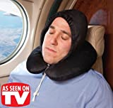 Hooded U-Shaped Pillow with Removable Hood for Home or Travel - BLACK