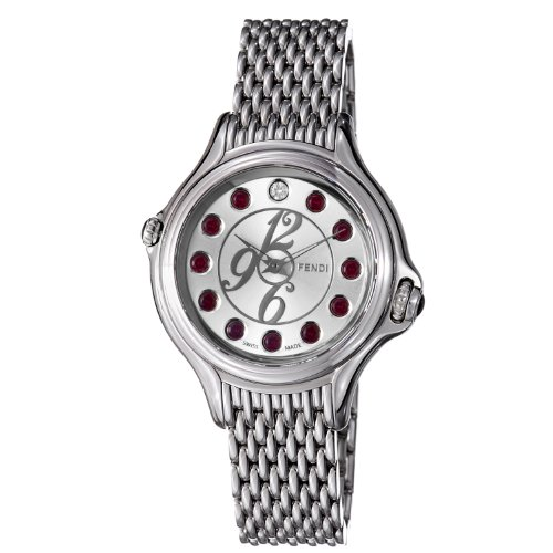 Fendi Crazy Carats Ladies Silver Dial Stainless Steel Watch F105036000T03