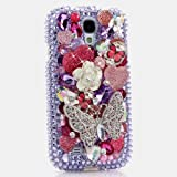 3D Luxury Swarovski Crystal Sparkle Diamond Bling Purple Pink Flower and Butterfly Design Case Cover for Samsung Galaxy S4 S 4 IV i9500 fits Verizon, AT&T, T-mobile, Sprint and other Carriers (Handcrafted by BlingAngels®)