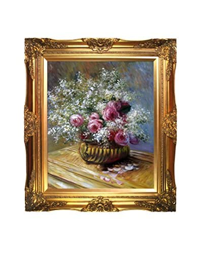 "Claude Monet ""Flowers In A Pot"" Framed Hand-Painted Oil Reproduction"
