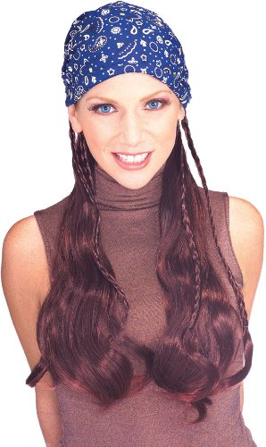 Rubie's Costume Pirate Wig with Blue Bandana, Brown, One Size Pirate Costume Wig