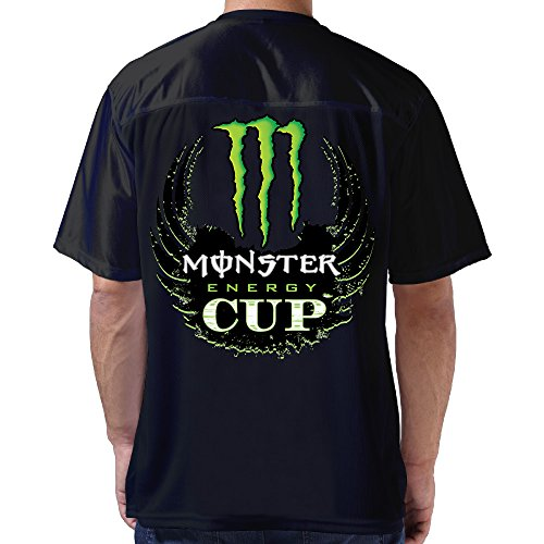 Boss-Seller Men's Cup Logo Lightweight Back Design Football Jersey Size XL Black (Black Monster Energy Stickers compare prices)