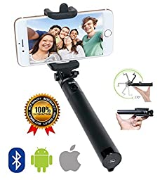 Selfie Stick, CLIOK - SMART Bluetooth - Wireless Monopod - Ultra Portable Premium Selfie Stick iPhone 6, 6s, iPhone 6 Plus, 5s, 5, - Samsung Galaxy & Android - Superior Quality Selfie Sticks - 100% Satisfaction Guarantee