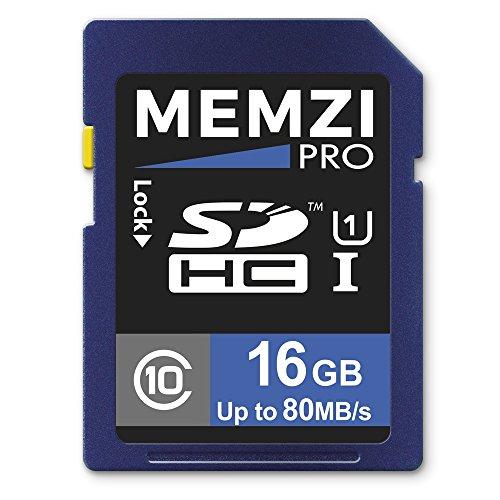 Memzi Pro 16GB, classe 1080MB/s scheda di memoria SDHC per fotocamere digitali Nikon Coolpix A, AW, serie B, L o w