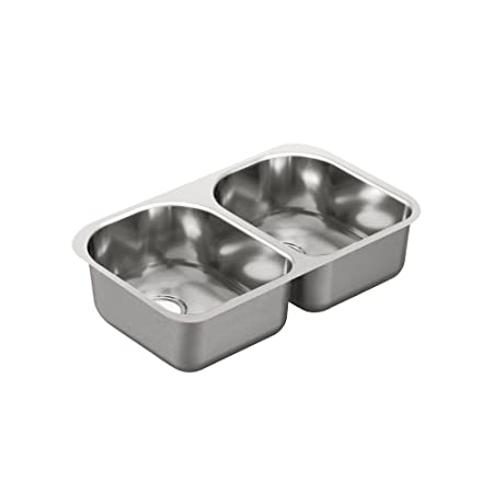 Moen G20253 2000 Series 20 Gauge Double Bowl Undermount Sink, Stainless Steel