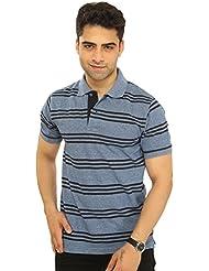 Mens Polo Neck Half Sleeve Striped Cotton T-shirt By Bongio_ RMS5A2008B