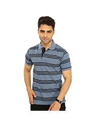 Men's Polo Neck Half Sleeve Striped Cotton T-shirt By Bongio_ RMS5A2008B