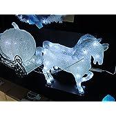 イルミネーション 2頭の白馬 馬車&かぼちゃ LED モチーフ クリスタル 3D 屋外仕様