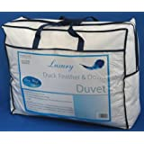 Homescapes - Luxury New White Duck Feather & Down Duvet - 13.5 Tog - Double - 100% Cotton Anti Dust Mite & Down Proof Cover - Anti allergen - Box Baffle Construction - Washable at Home Rangeby Homescapes