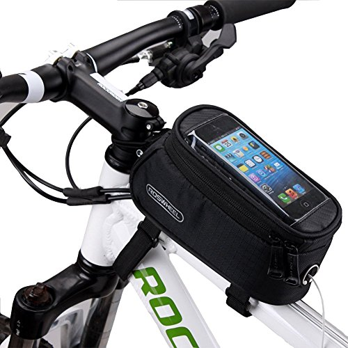 ArcEnCiel® Bicycle Tube Frame Cycling Pannier Water Resistant Bike Bag & 5.5 inch Mobile Phone Screen Touch Holder (Black)