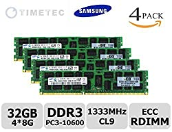 Timetec Samsung M393B1K70CH0-YH9Q5 DDR3L 1333MHz PC3-10600 Registered ECC 1.35V CL9 2Rx4 512x4 Dual Rank 240-Pin RDIMM Server Memory Module Upgrade 32GB Kit 4x8GB