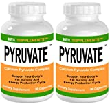2 Bottles Calcium Pyruvate 750mg 180 Total Capsules KRK Supplements