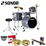 Sonor Safari Black Galaxy Sparkle Drum Kit with Sabian SBR Cymbals, Hi-Hat Stand, Cymbal Stand, Drum Throne, Foot Pedal, Vic Firth/GoDpsMusic Drumsticks, Evans Drumset Survival Guide and LP Rumba Shaker