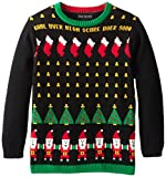 Alex Stevens Big Boys' Ugly Christmas Sweater Santa Invaders Video Game, Black Combo, X-Large