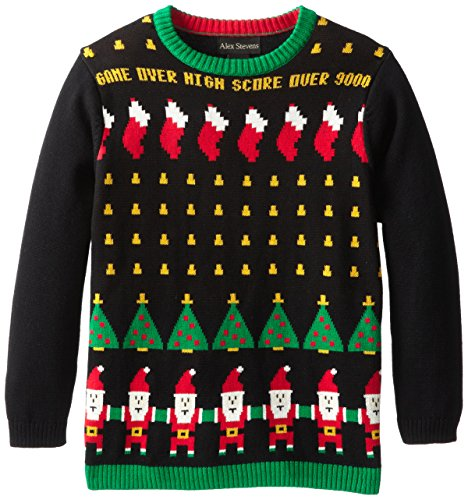 Alex Stevens Big Boys' Ugly Christmas Sweater Santa Invaders Video Game, Black Combo, Medium