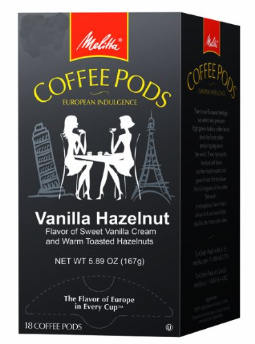 Melitta Coffee Pods, Vanilla Hazelnut Flavored Coffee, Medium Roast, 18-Count (Pack of 4)