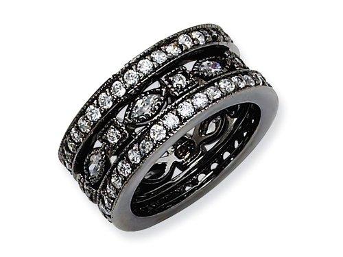 Cheryl M(tm) Black-plated Sterling Silver CZ Eternity Three Ring Set Size 7