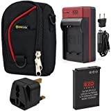 EZOPower EN-EL12 Battery + Travel Charger with EU/ Car Adapter + Black Compact Case with Strap for Nikon COOLPIX P330 P310 AW110 AW100 S9400 S9500 S9050 S9200 S6300 S9300 S800c S31 Digital Camera