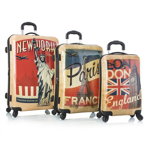 Heys Vintage Traveller-Paris, London & New York-3pc Set 0