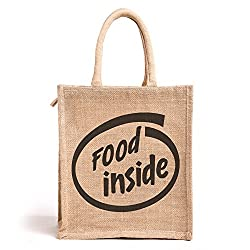 Food inside, Jute lunch bag, Medium Size, Height:11in, Lenght: 9in, Width: 5.5in