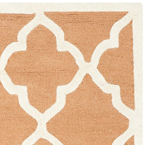 Safavieh Cambridge Collection CAM312W Handmade Coral and Ivory Wool Square Area Rug, 6 feet Square (6' Square)