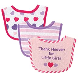 Luvable Friends Baby Drooler Bibs, Pink Heart, 3-Count